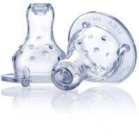 Nuby Dudlík na láhev netekoucí silikon 2 ks 0m+