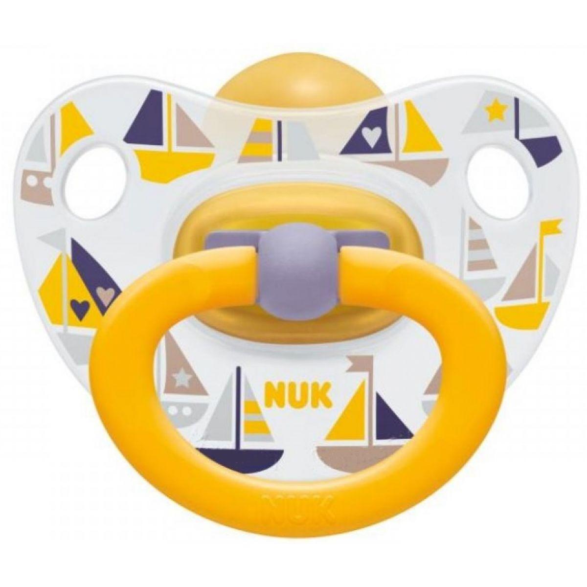 Nuk Dudlík Classic Happy Kids 0-6m Lodičky žlutý