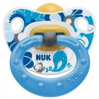 Nuk Dudlík Classic Happy Kids latex 6-18m - Modrý