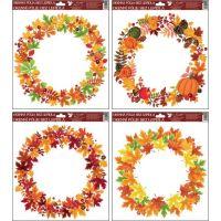 Anděl Okenní fólie Podzimní věnce listí se šípky 30 x 30 cm 2
