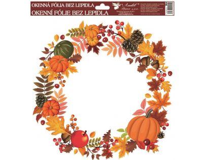 Anděl Okenní fólie Podzimní věnce listí s dýněmi 30 x 30 cm