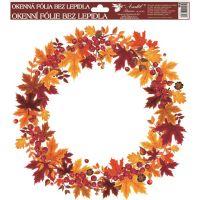Anděl Okenní fólie Podzimní věnce listí s rybízem 30 x 30 cm