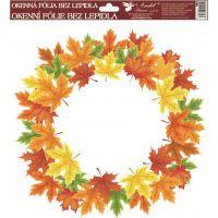 Anděl Okenní fólie Podzimní věnce barevné listí 30 x 30 cm