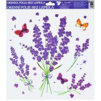 Okenní fólie 30x30 cm, levandule kytice s motýlky
