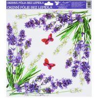 Anděl Okenní fólie 30 x 30 cm Levandule rohové s motýly