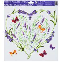 Anděl Okenní fólie 30 x 30 cm Levandule srdce s motýly