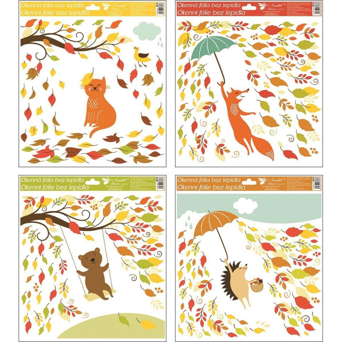 Anděl Okenní fólie 33 x 30 cm Podzimní zvířátka - kočka