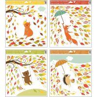 Anděl Okenní fólie 33 x 30 cm Podzimní zvířátka