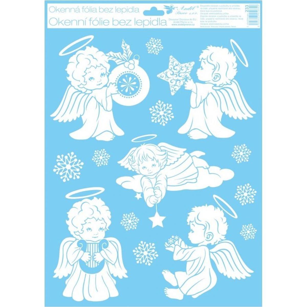 Anděl Okenní fólie 42 x 30 cm andělé Andílek s hvězdičkou