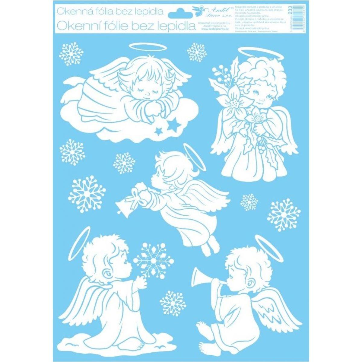 Anděl Okenní fólie 42 x 30 cm andělé Andílek se zvonečkem