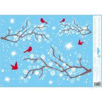 Anděl Okenní fólie 42 x 30 cm větve Červení ptáčci