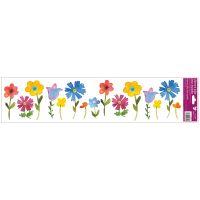 Okenní fólie pruhy s kytkami 64x15 cm barevné květiny