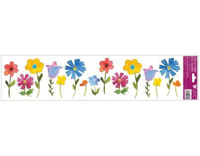 Anděl Okenní fólie pruhy s kytkami 64 x 15 cm Barevné květiny