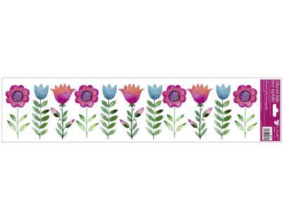 Anděl Okenní fólie pruhy s kytkami 64 x 15 cm Tulipány
