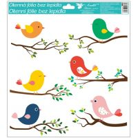 Okenní fólie ptáčci 33x30 cm šest ptáčků