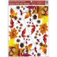 Anděl Okenní fólie rohová Listí s ořechy 30 x 42 cm