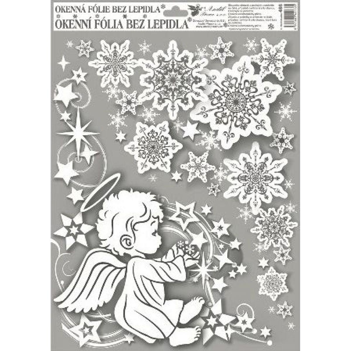 Anděl Okenní fólie rohová andílci s duhovými glitry 38 x 30 cm Andílek vlevo