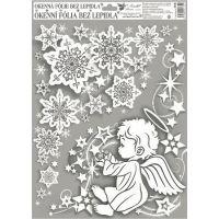 Anděl Okenní fólie rohová andílci s duhovými glitry 38 x 30 cm Andílek vpravo