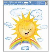 Anděl Okenní fólie ručně malovaná sluníčka 30 x 30 cm Sluníčko s duhou