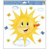 Anděl Okenní fólie ručně malovaná sluníčka 30 x 30 cm Sluníčko s hřebenem
