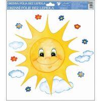 Anděl Okenní fólie ručně malovaná sluníčka 30 x 30 cm Sluníčko s úsměvem