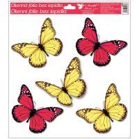 Anděl Okenní fólie s glitry motýli 33 x 30 cm červení a žlutí