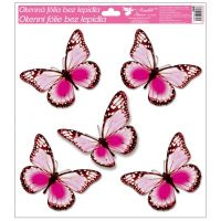 Okenní fólie s glitry motýli 33x30 cm světle růžové