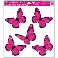 Okenní fólie s glitry motýli 33x30 cm tmavě růžové