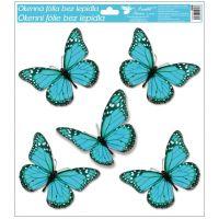 Okenní fólie s glitry motýli 33x30 cm tyrkysové