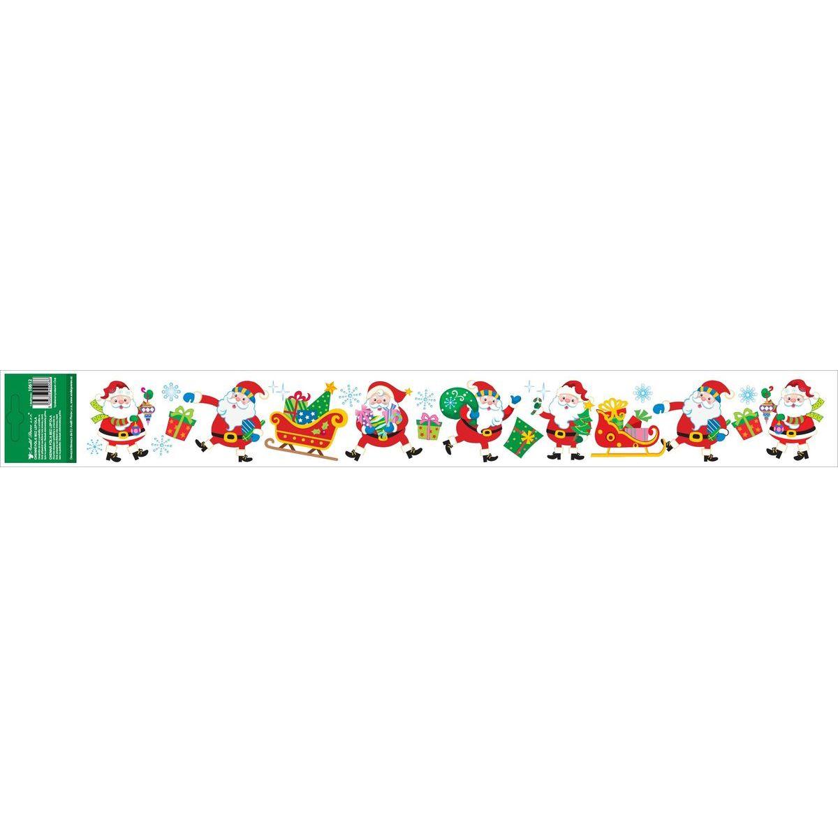 Anděl Okenní fólie s glitry pruh s dětskými motivy 59 x 7 cm Santa Klaus