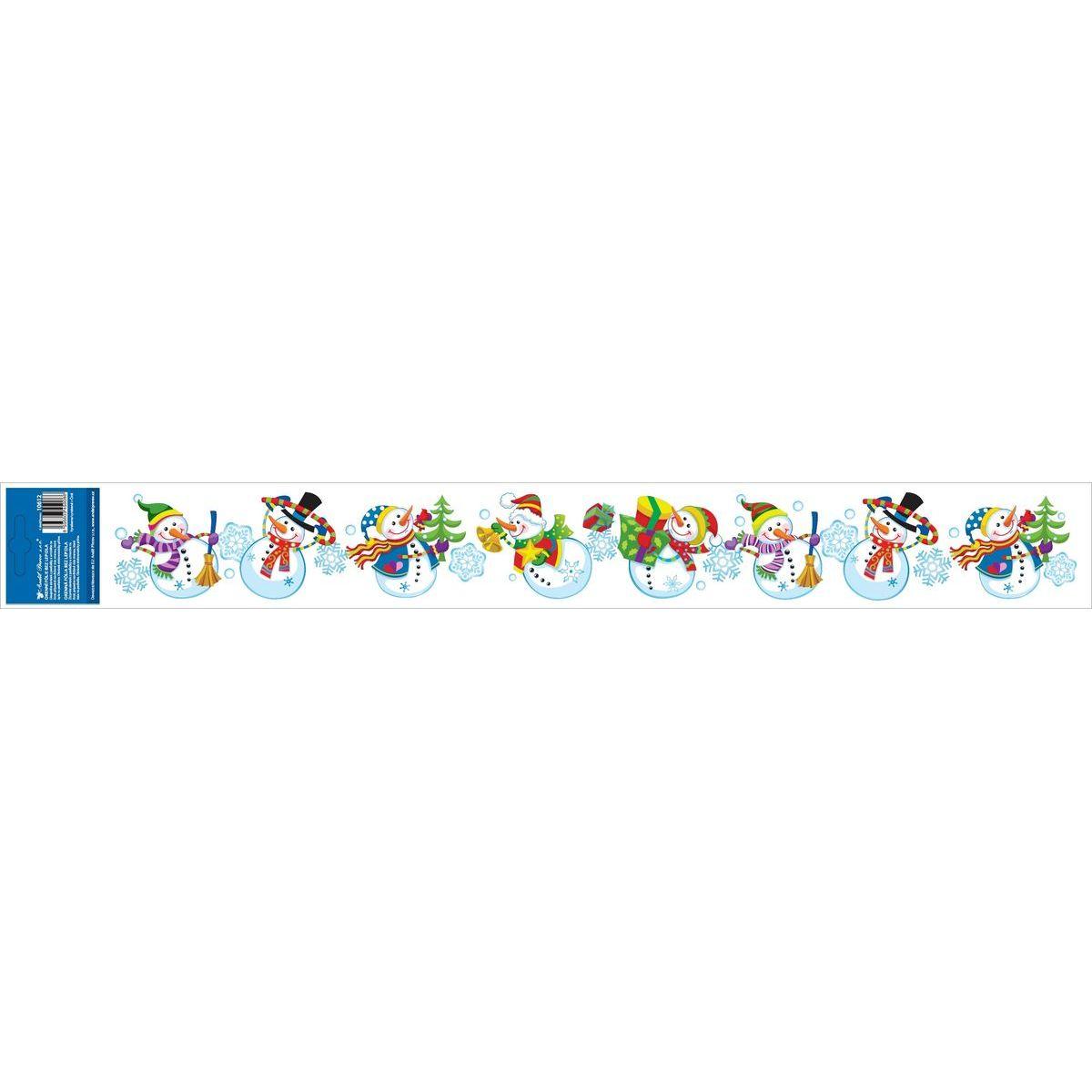 Anděl Okenní fólie s glitry pruh s dětskými motivy 59 x 7 cm Sněhuláci