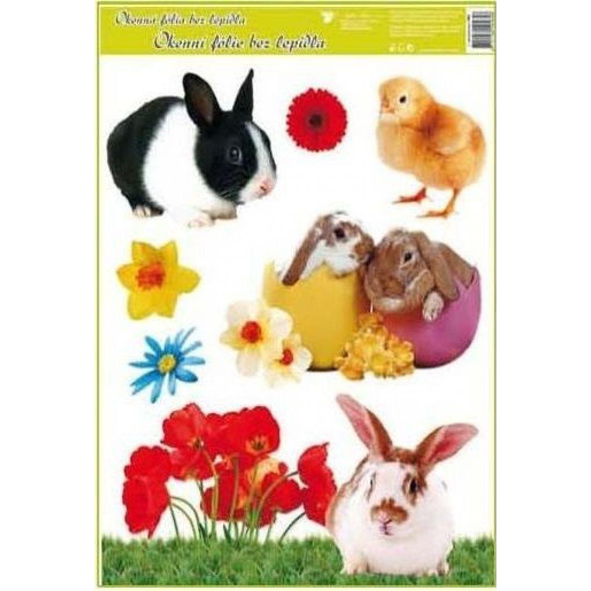 Anděl Okenná fólia veľkonočné živé kuriatka 30 x 42 cm čiernobiely králiček