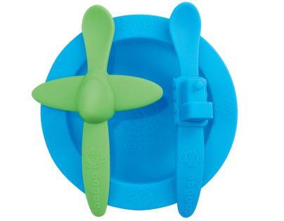 Oogaa Sada nádobí - Modrý talíř, modrozelený příbor
