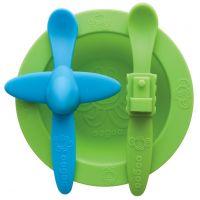 Oogaa Sada nádobí - Zelený talíř, modrozelený příbor