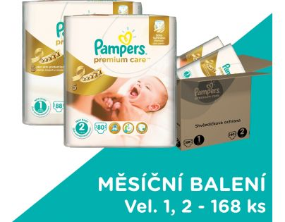 Pampers Premium Care 1 Newborn + Premium Care 2 mini 168ks