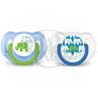 Philips Avent Šidítko Obrázek slon 6 - 18m 2ks - Pro kluky