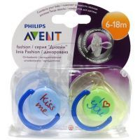Philips Avent Šidítko Text 6-18m 2ks - Modrá a zelená
