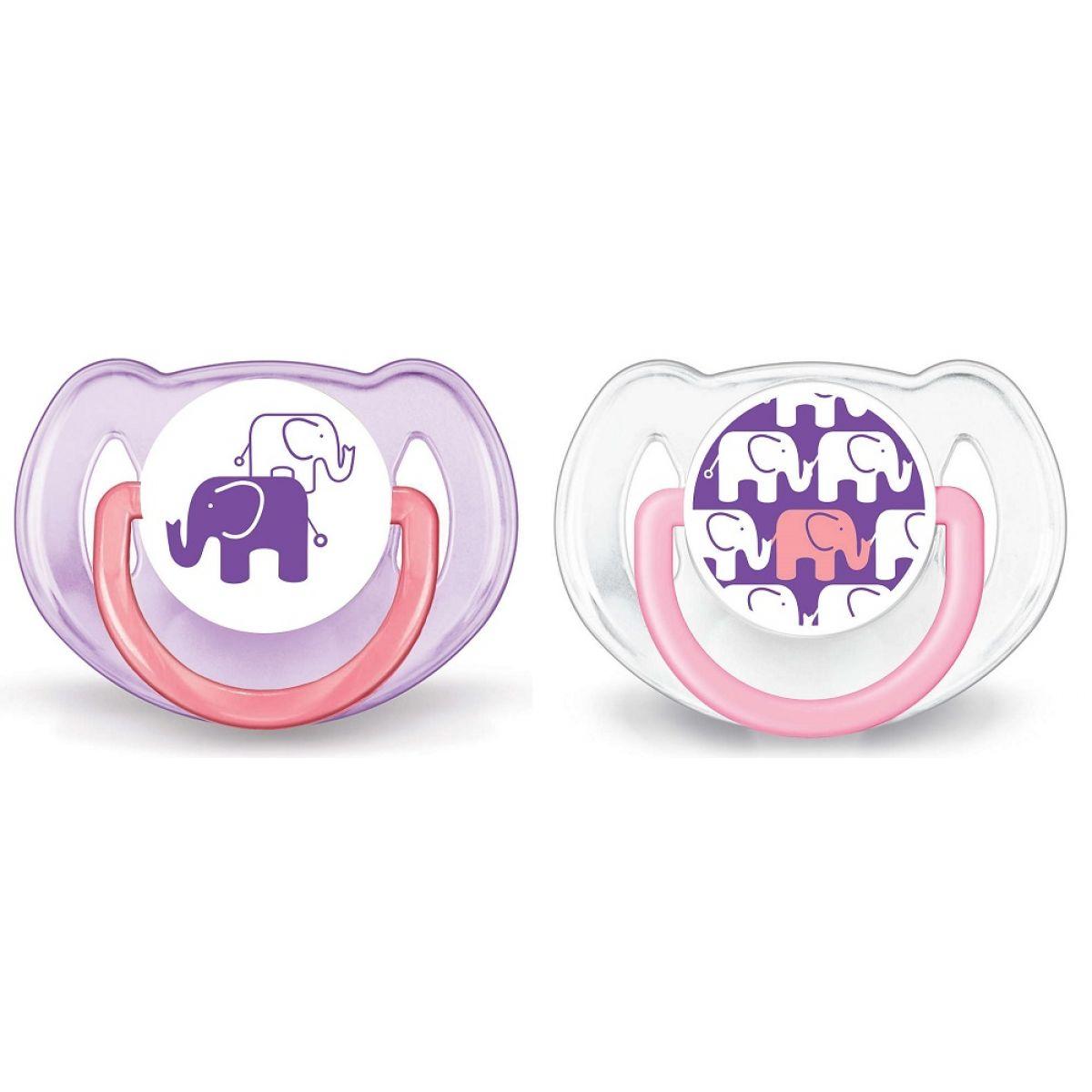 Philips Avent Šidítko Obrázek slon 6 - 18m 2ks - Pro děvčata