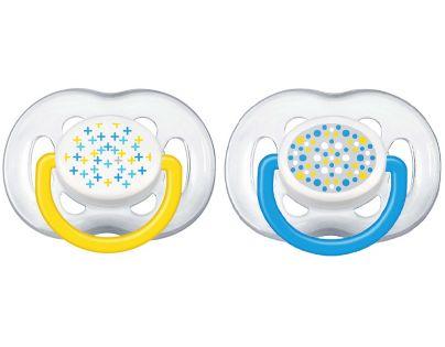 Philips Avent Šidítka Sensitive Fantazie 6 -18m 2ks - Modrá a žlutá