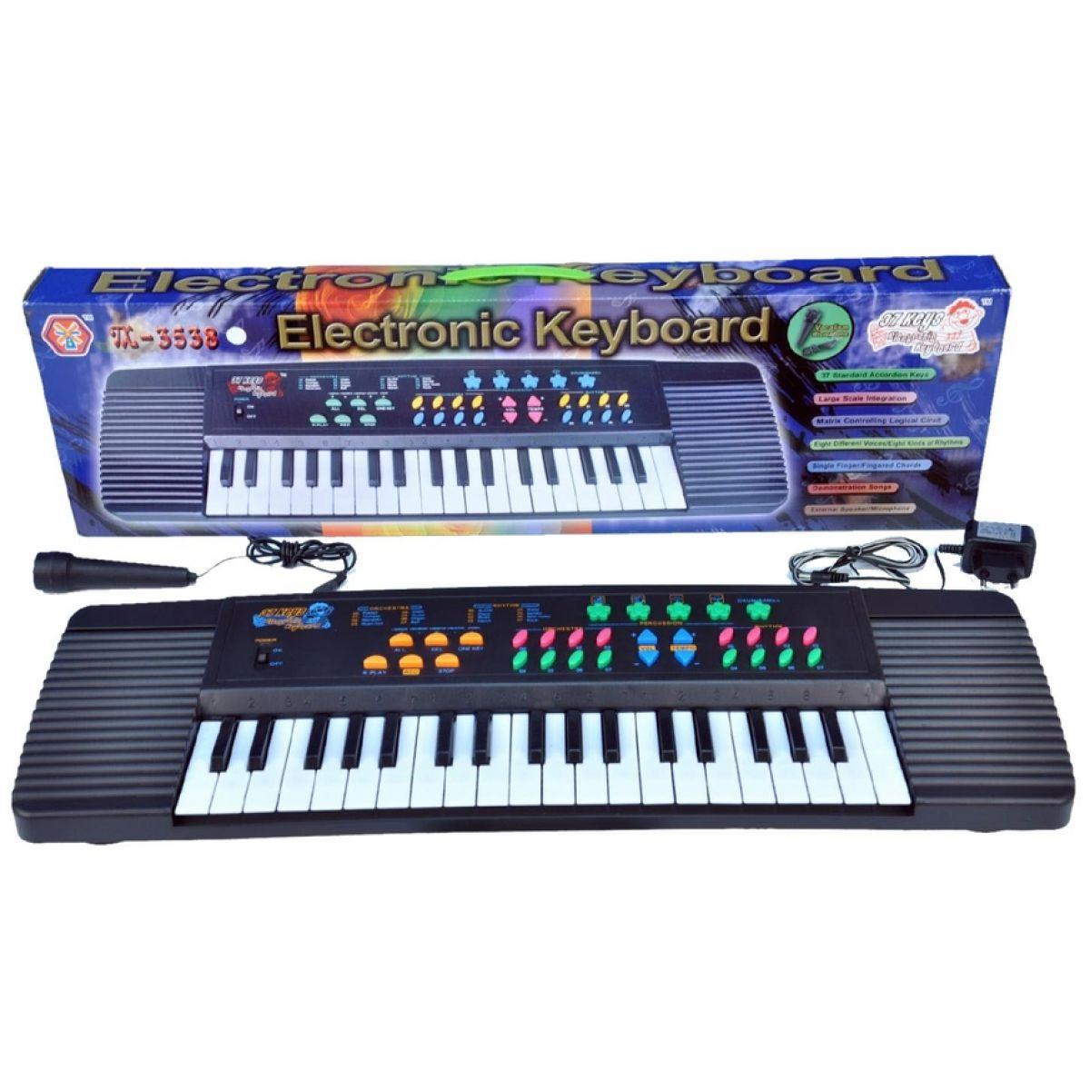 Teddies 61905-DP-1477 - Piánko 37 kláves, 8 zvuků, 8 rytmů 66,5x19,5x6cm na baterie 230V s adaptérem
