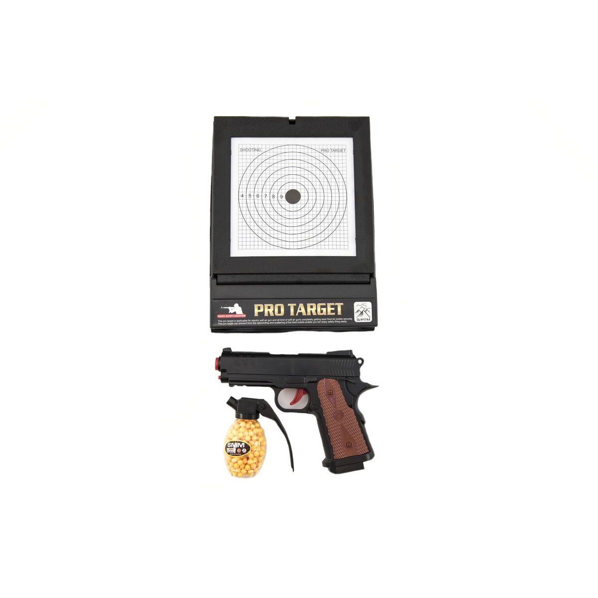 Pistole plastová na kuličky 6mm s terčem TEDDIES