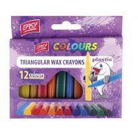 Easy Plastissimo Voskovky trojhranné plastic mix 12 barev