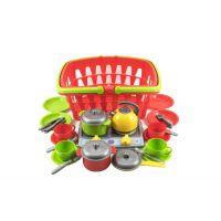 Plastový nákupní košík plast se sadou nádobí a vařičem