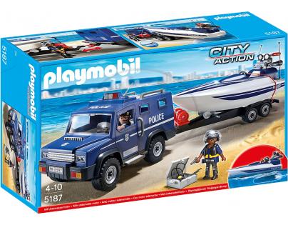 Playmobil 5187 Policejní auto s rychlostním člunem