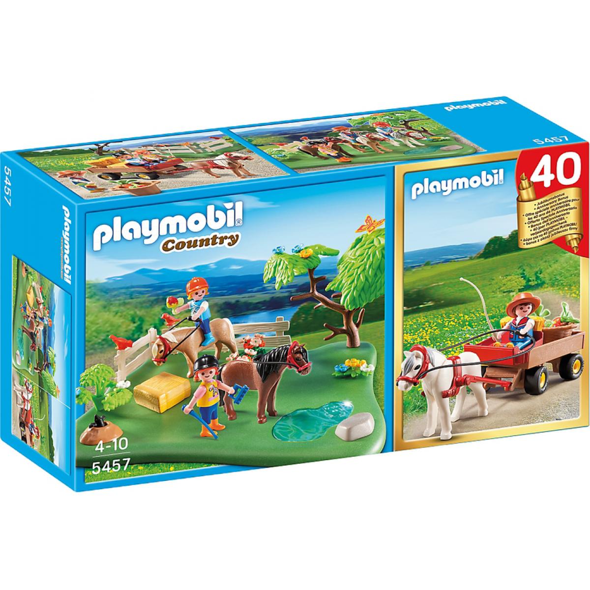 Playmobil 5457 - Výroční Compact Set Pastva poníků a vozík na seno
