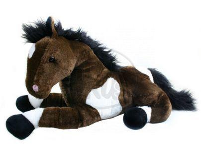 Petra Toys Plyšový kůň ležící 53cm - Hnědá tmavá