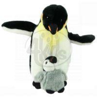 Plyšový tučňák s mládětem 26 cm