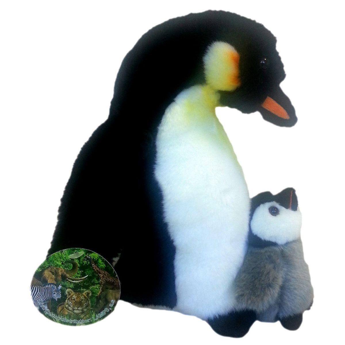 Plyšový tučňák s mládětem 27cm
