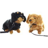 Plyš pes jezevčík s vodítkem 28 cm