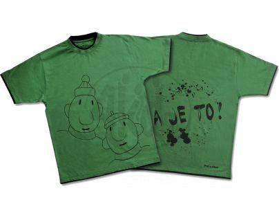 Pánské tričko Pat a Mat vel. L zelené